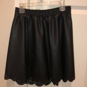 black pleather skater skirt
